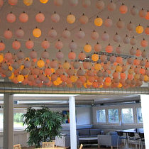 """Table-tennis balls"" chandelier, Roblon Development Centre, Sæby, Denmark / © Roblon A/S"